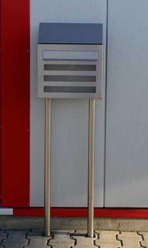 Edelstahl-Briefkasten mit Briefkastenständer