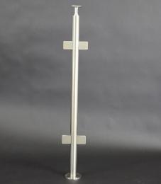 V2A-Geländerpfosten zur Bodenmontage mit 4 Glashalter