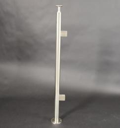 V2A-Geländerpfosten zur Bodenmontage mit 2 Glashalter