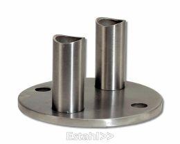 V2A-Wandhalter mit runder Platte für 42,4 mm